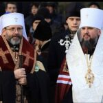 """Metropolitan"" Epiphany with Uniate ""Patriarch"" Sviatoslav Pray Both with Omophor and Epitrahelion"