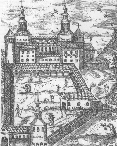 A 17th century illustration of St. Riquier Abbey